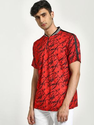 CHELSEA KING Distress Print Baseball Polo Shirt