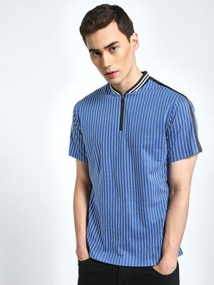 CHELSEA KING Vertical Stripe Baseball Polo Shirt