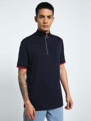 CHELSEA KING Funnel Neck Zipper Polo Shirt