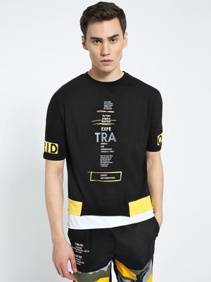 CHELSEA KING Text Print Layered Hem T-Shirt
