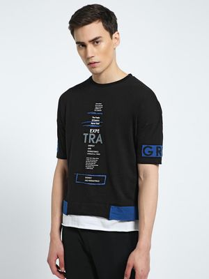 CHELSEA KING Slogan Print Layered Hem T-Shirt