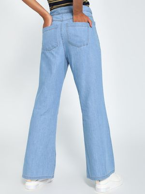 K Denim KOOVS Patch Pocket Flared Jeans