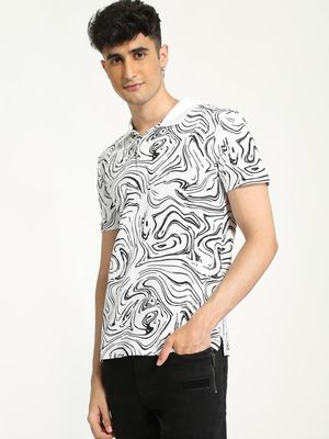 KOOVS All Over Abstract Print Polo Shirt