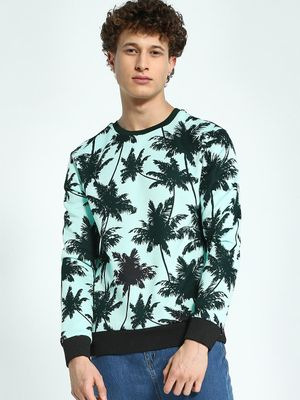KOOVS Palm Tree Print Sweatshirt