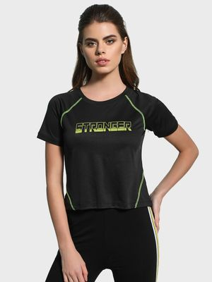 K ACTIVE KOOVS Stronger Print Crop T-Shirt