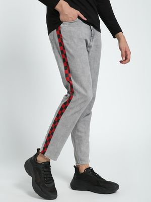 K Denim KOOVS Checkerboard Side Tape Regular Jeans