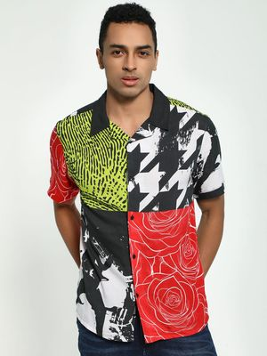 KOOVS Collage Print Cuban Collar Shirt