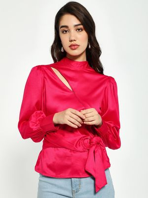 KOOVS Satin Bishop Sleeve Blouse
