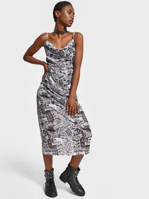 KOOVS Mesh Newspaper Print Maxi Dress