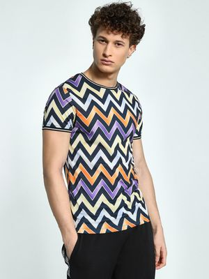 KOOVS Chevron Muscle Fit Ringer T-Shirt
