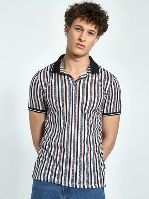 KOOVS Geometric Stripe Print Polo Shirt