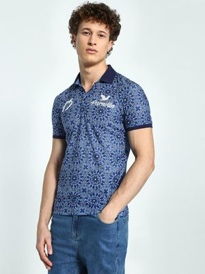 KOOVS Tapestry Text Print Polo Shirt