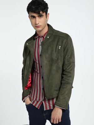 KOOVS Suede Band Collar Biker Jacket