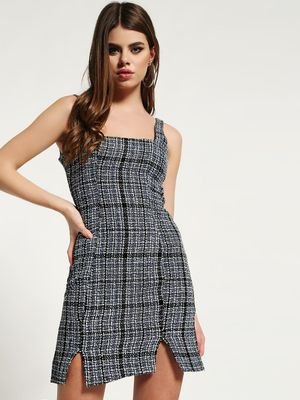 Missguided Boucle Square-Neck Cami Shift Dress