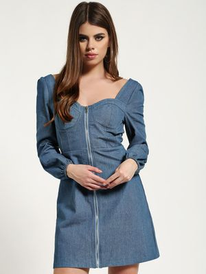 Missguided Zip-Up Bustier Denim Dress