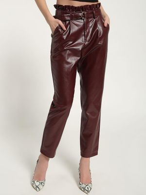 Missguided Faux Leather Paperbag Cropped Trousers