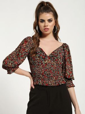 Missguided Floral Print Milkmaid Shirred Peplum Top