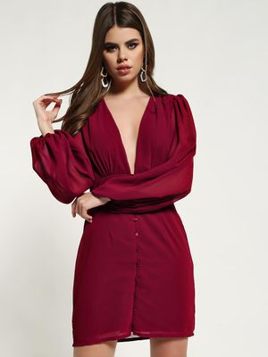 Missguided Plunge V-Neck Button-Down Shift Dress