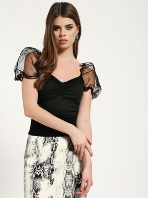 Missguided Organza Puff Sleeve Crop Top