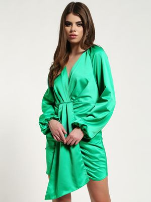 Missguided Satin Front-Tape Shift Dress
