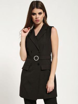 Missguided Diamante Belted Sleeveless Blazer