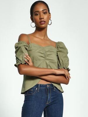 Origami Lily One Shoulder Puff Sleeve Blouse