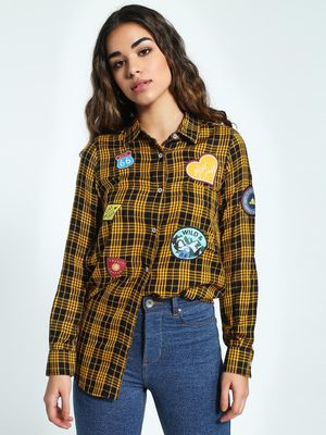 KOOVS Badge Applique Checked Shirt