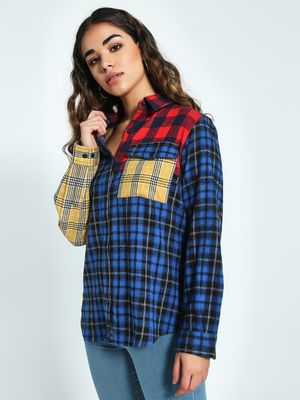 KOOVS Colour Block Woven Check Shirt