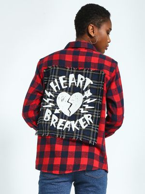 KOOVS Heart Breaker Patch Woven Check Shirt