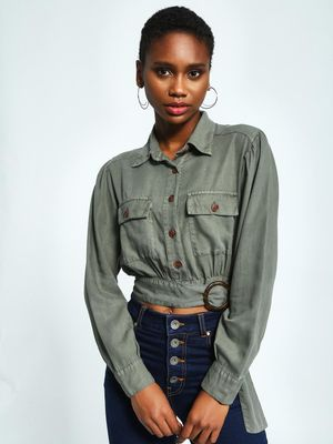 KOOVS Buckle Belt Crop Utility Shirt