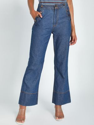 K Denim KOOVS Side Button Flared Jeans