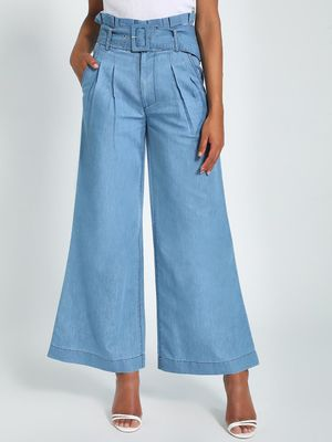 K Denim KOOVS Paperbag Belted Wide Leg Jeans