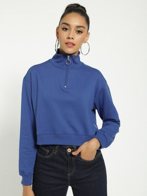 Blue Saint Funnel Neck Cropped Sweatshirt