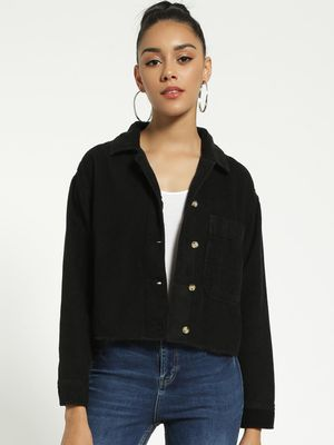Blue Saint Corduroy Raw Hem Cropped Jacket