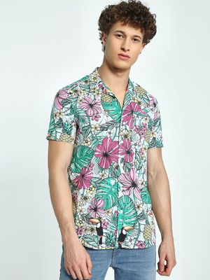 AMON Tropical Print Cuban Collar Shirt