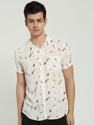 AMON Feather Print Cuban Collar Shirt