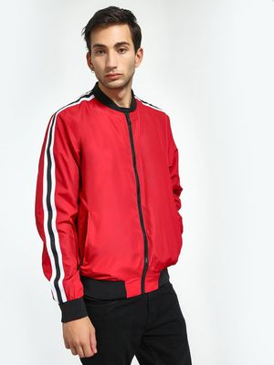 Brave Soul Contrast Side Tape Bomber Jacket