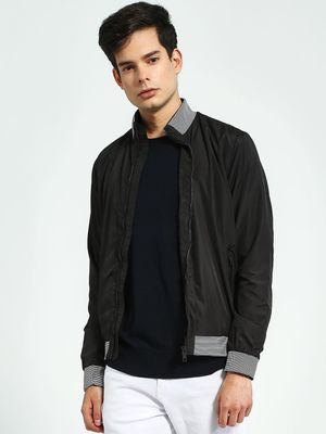 Brave Soul Striped Funnel Neck Bomber Jacket