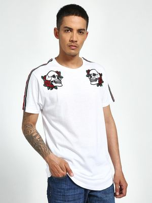 Brave Soul Skull & Rose Embroidered Shoulder Tape T-Shirt