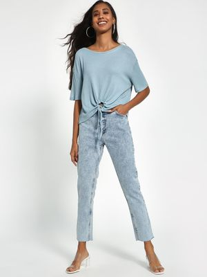 Sbuys Acid Wash Cropped Straight Jeans