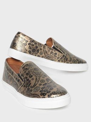 KOOVS Paisley Print Slip-On Shoes