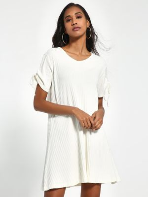 Sbuys Ruched Sleeve Swing Shift Dress