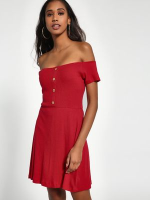Sbuys Button-Front Ribbed Off-Shoulder Dress