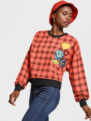 KOOVS Checked Badge Applique Boxy Sweatshirt