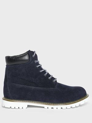 KOOVS Suede Cleated Sole Lace-Up Boots