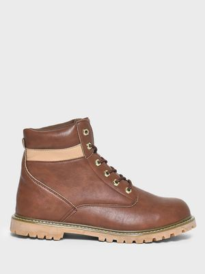 KOOVS Cleated Sole Lace-Up Boots