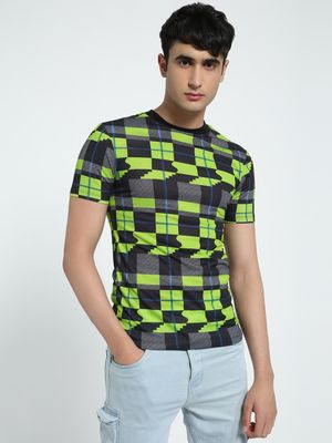 KOOVS Glitch Check Muscle Fit T-Shirt