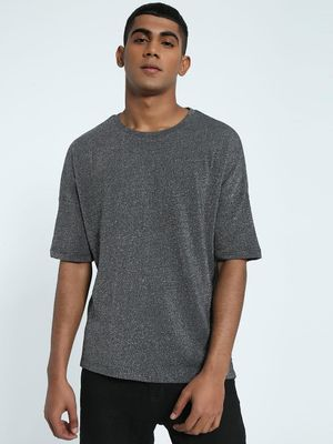 KOOVS Shimmer Drop Shoulder Oversized T-Shirt