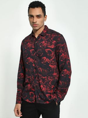 KOOVS Rose Print Long Sleeve Shirt