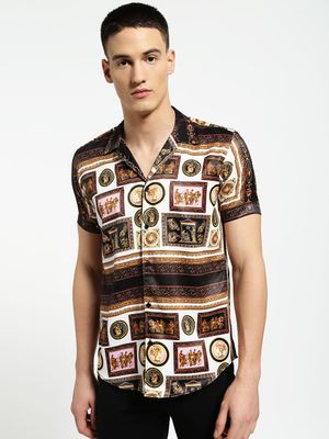 AMON Baroque Greek Figures Cuban Shirt